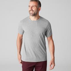 T-shirt 500 regular fit pilates en lichte gym heren gemêleerd lichtgrijs