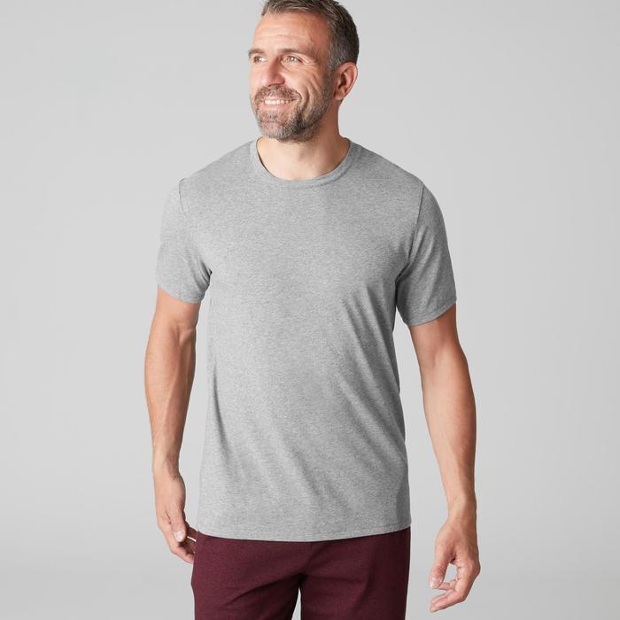 T-shirt voor pilates/lichte gym heren 500 regular fit gemêleerd lichtgrijs