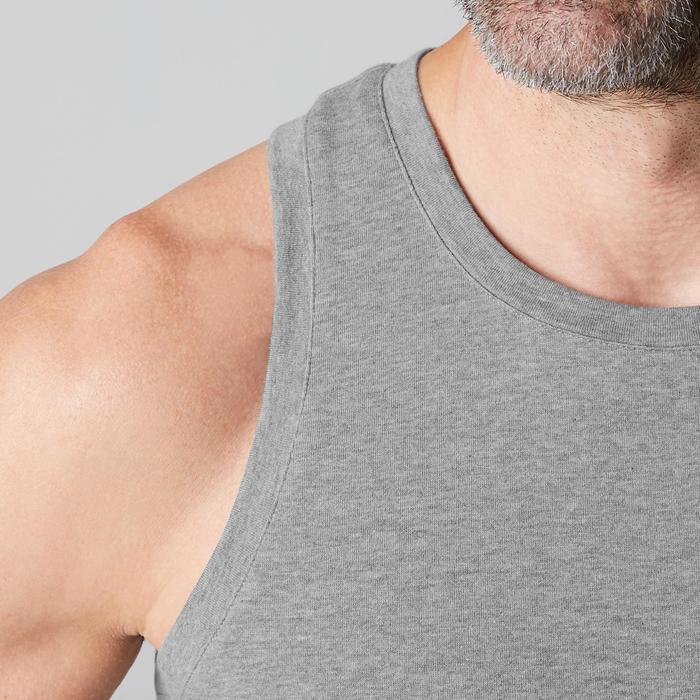 Camiseta sin mangas 500 regular Pilates y Gimnasia suave hombre gris claro jasp