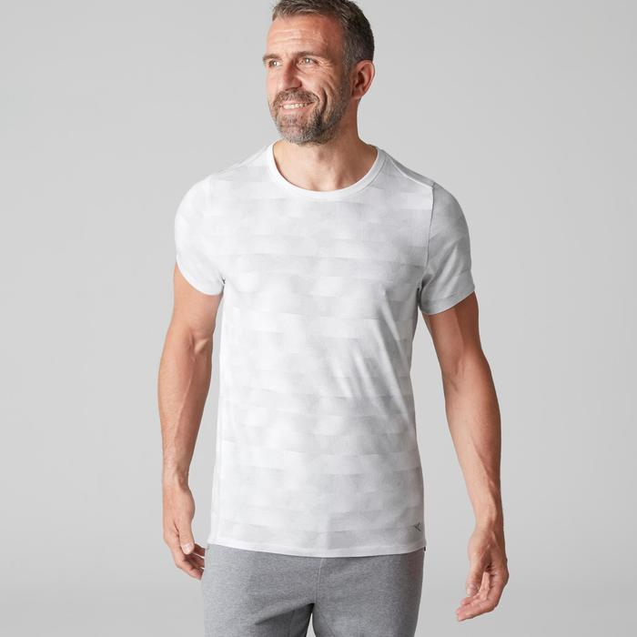 T-shirt 520 slim col rond Gym Stretching homme blanc AOP