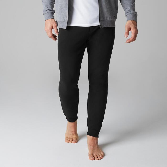 Jogginghose 500 Slim Zip Pilates sanfte Gymnastik Herren schwarz