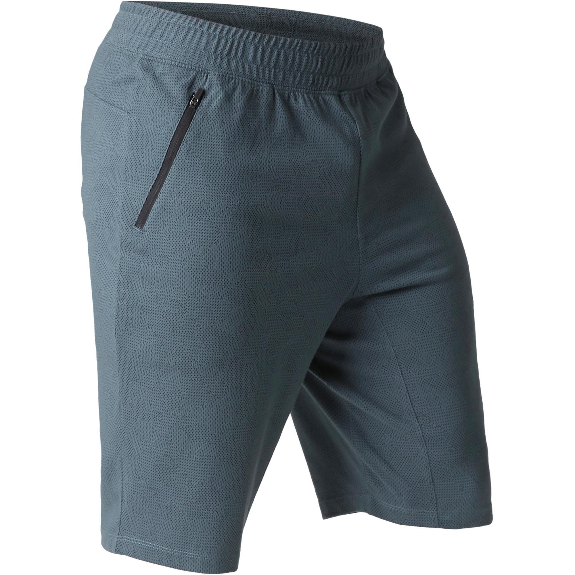Sporthose kurz Gym 520 Slim knielang Herren Fitness blau