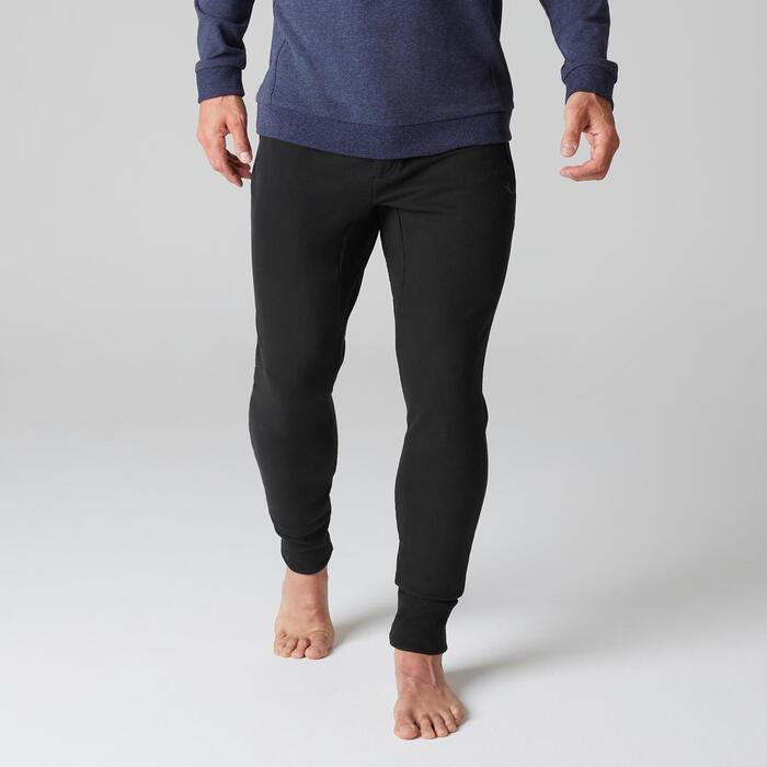 Pantalon 500 skinny zip Gym Stretching noir homme - 1505154