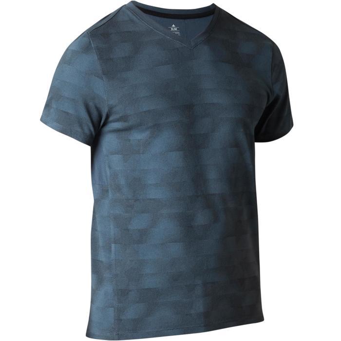 T-Shirt Gym 520 Slim V-Ausschnitt Herren Fitness blau AOP