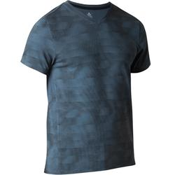 Heren T-shirt 520 voor gym en stretching slim fit, V-hals, blauw AOP
