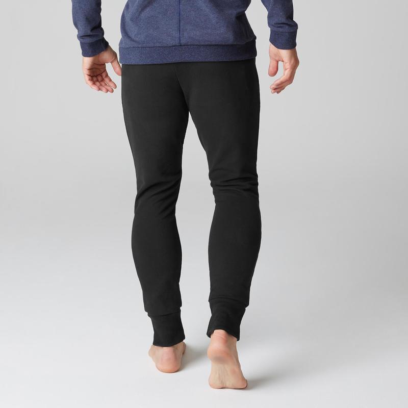 Pantalon 500 Skinny Cremallera Pilates Y Gimnasia Suave Negro Hombre
