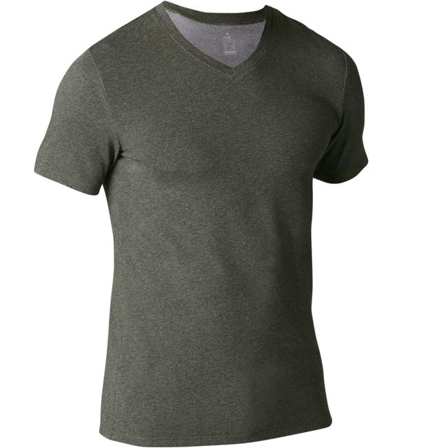 Men's Gym T-Shirt Slim Fit 500 - Khaki