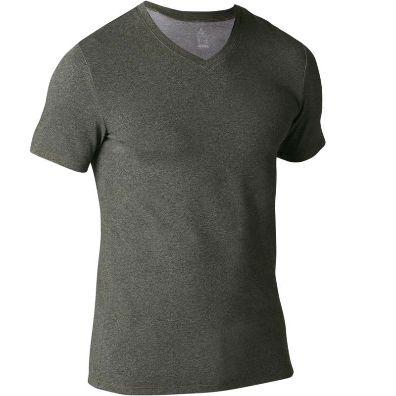 500 Slim-Fit V-Neck Pilates & Gentle Gym T-Shirt - Khaki