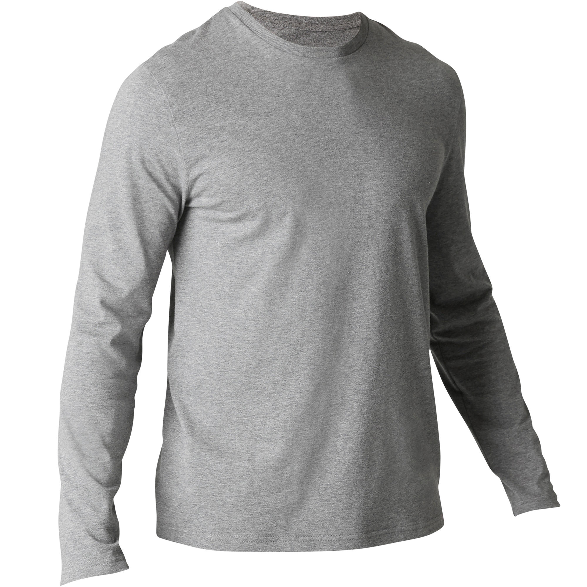 Camiseta 120 manga larga regular Pilates y Gimnasia suave hombre gris jaspeado