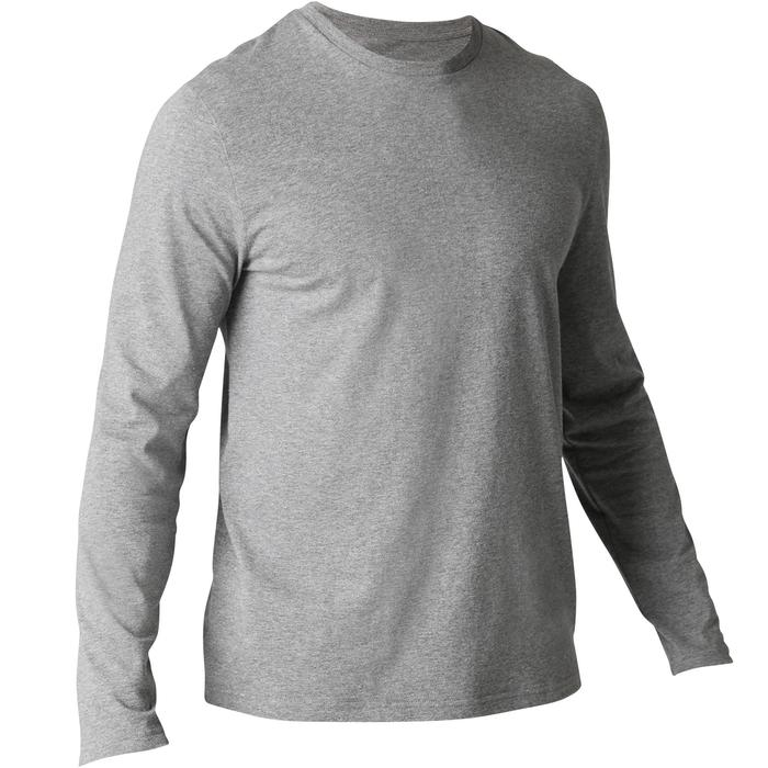 T-Shirt Manches Longues Sport Pilates Gym Douce homme 100 Regular Bleu Gris