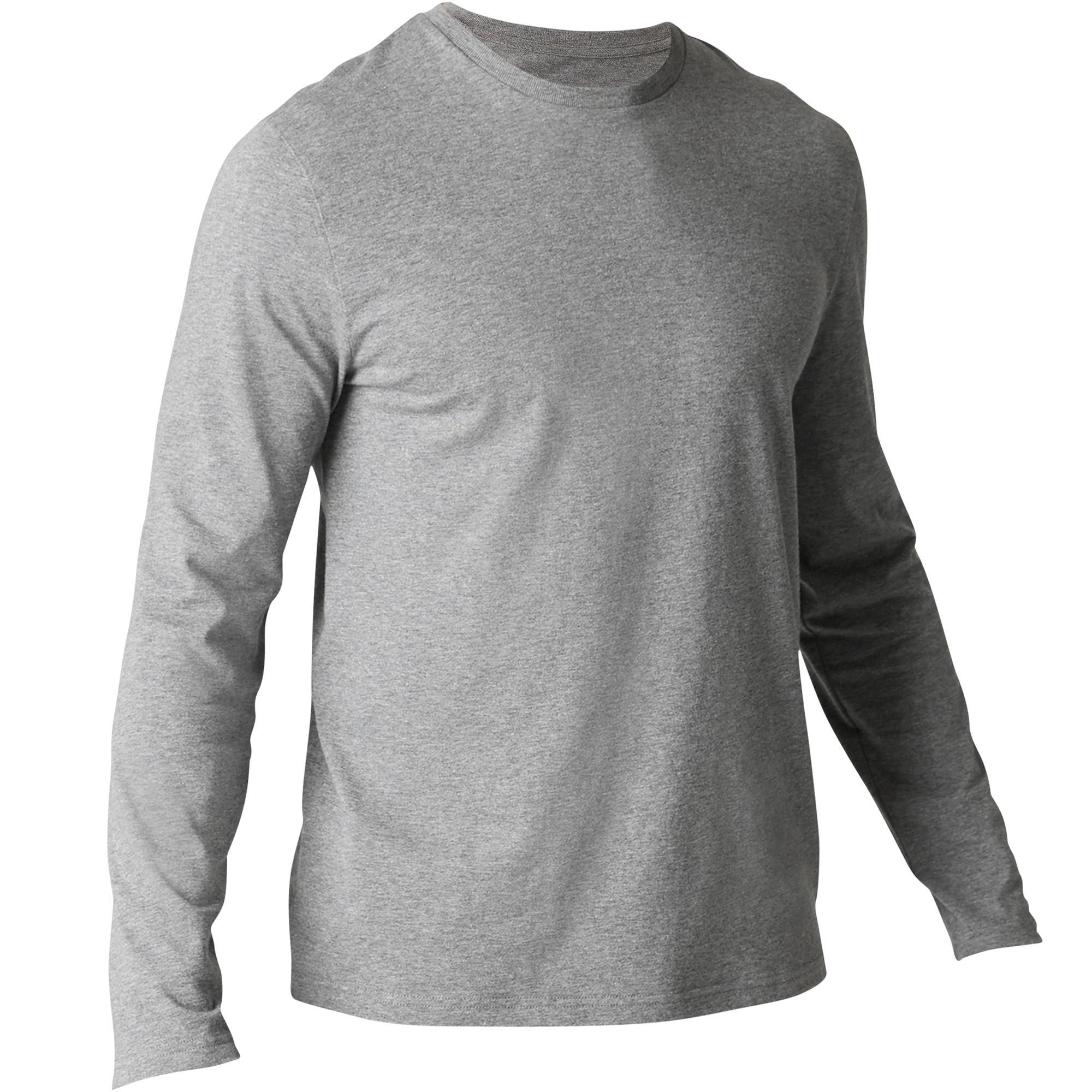Domyos T-shirt 120 lange mouwen regular fit pilates en lichte gym heren gemêleerd grijs