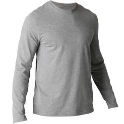 Heren T-shirt 100 met lange mouwen gym en stretching regular gemêleerd grijs