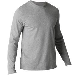 Heren T-shirt 100 met lange mouwen gym en stretching regular gemêleerd grijs