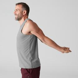 Camiseta sin mangas 500 Pilates y Gimnasia suave hombre gris claro jaspeado