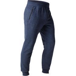 Pantalón 500 slim cremallera gimnasia stretching hombre azul