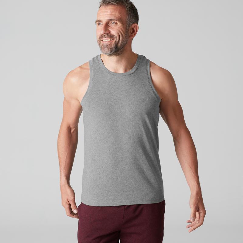 Camiseta sin mangas 500 regular Pilates y Gimnasia suave hombre gris claro  jasp  b02c4fb42161e