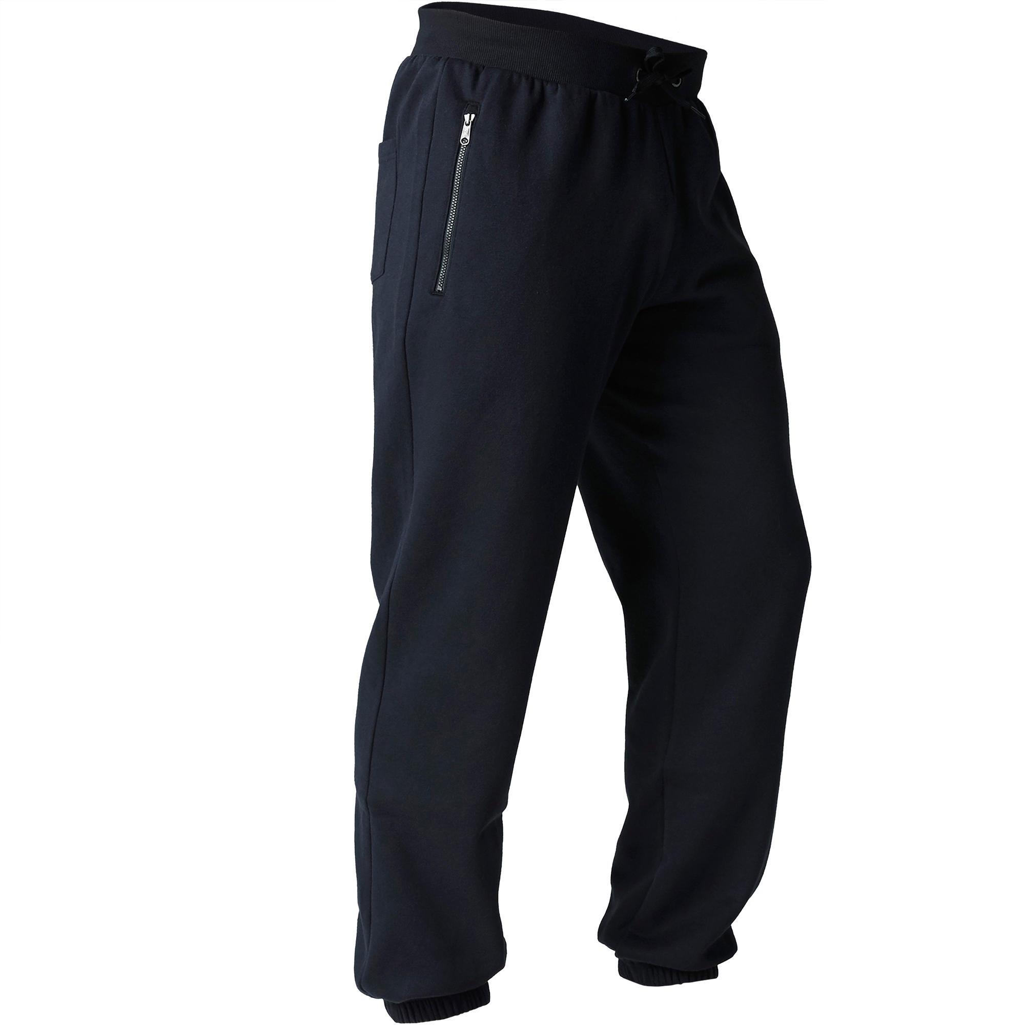 Pantalon 900 régulier zip gymnastique d'étirement noir homme