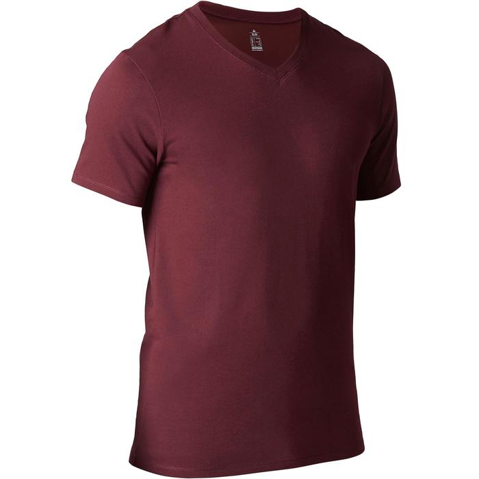 T-Shirt Gym 500 Slim Fitness Herren bordeaux