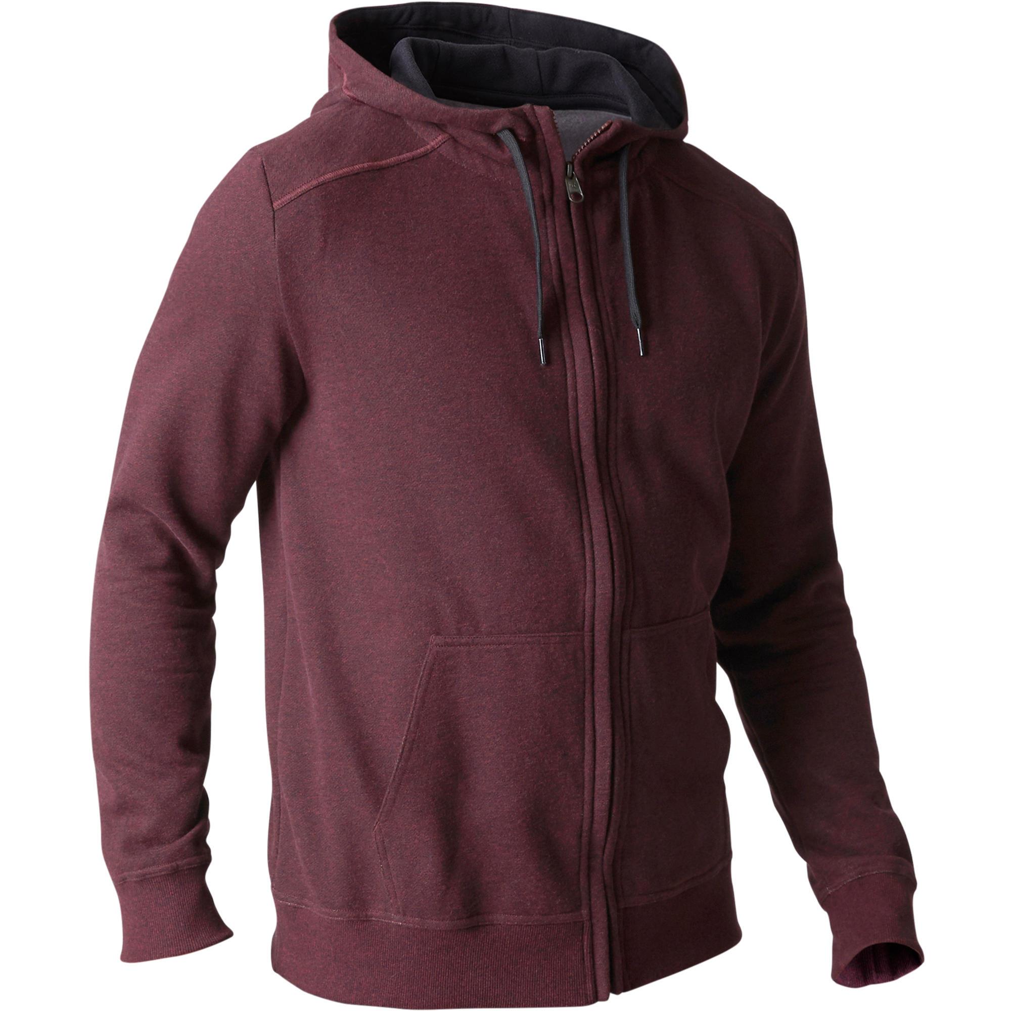domyos hoodie met rits 900 voor gym en pilates heren decathlon. Black Bedroom Furniture Sets. Home Design Ideas