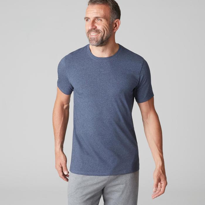 Camiseta 500 Regular Gimnasia stretching hombre azul