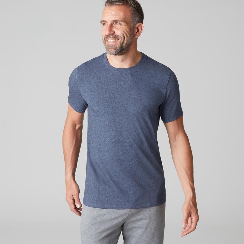 T-shirt 500 regular Gym Stretching homme bleu
