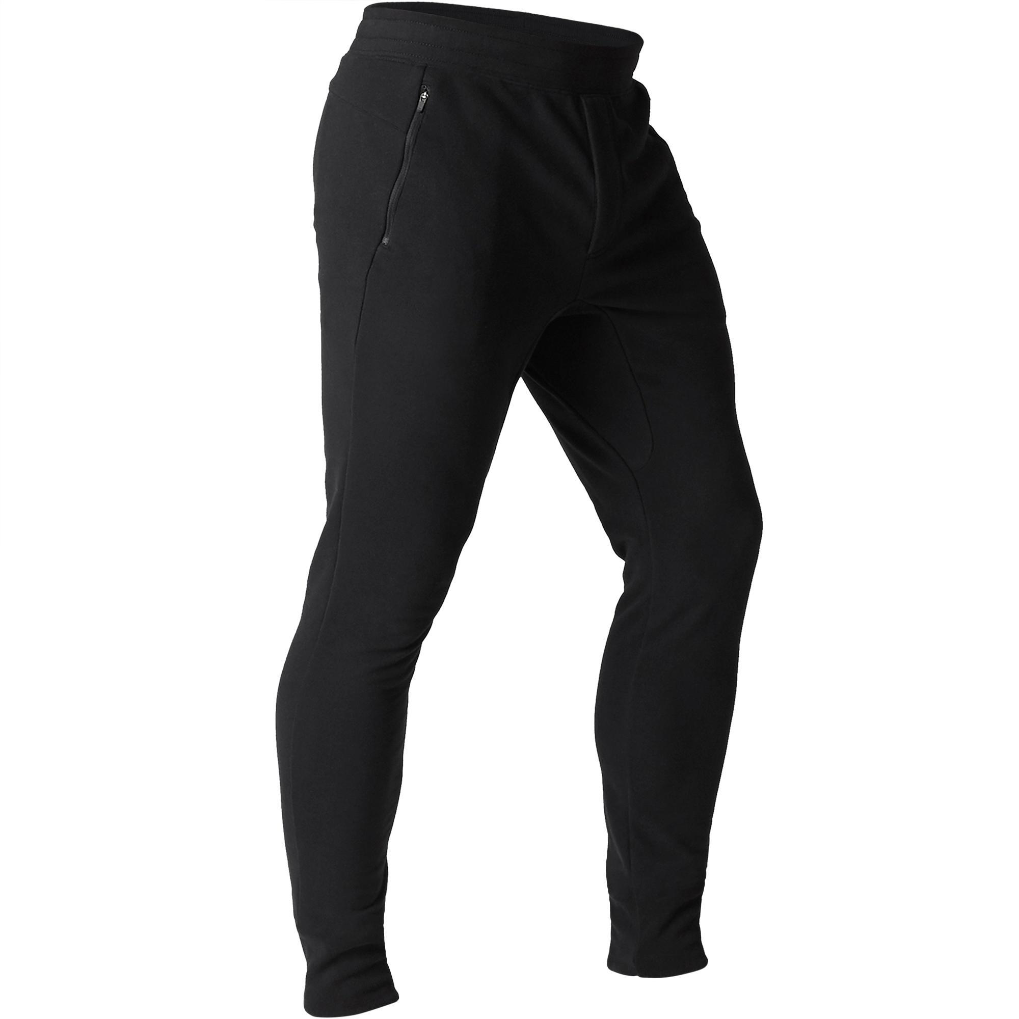 Pantalón 500 skinny cremallera Pilates y Gimnasia suave negro hombre