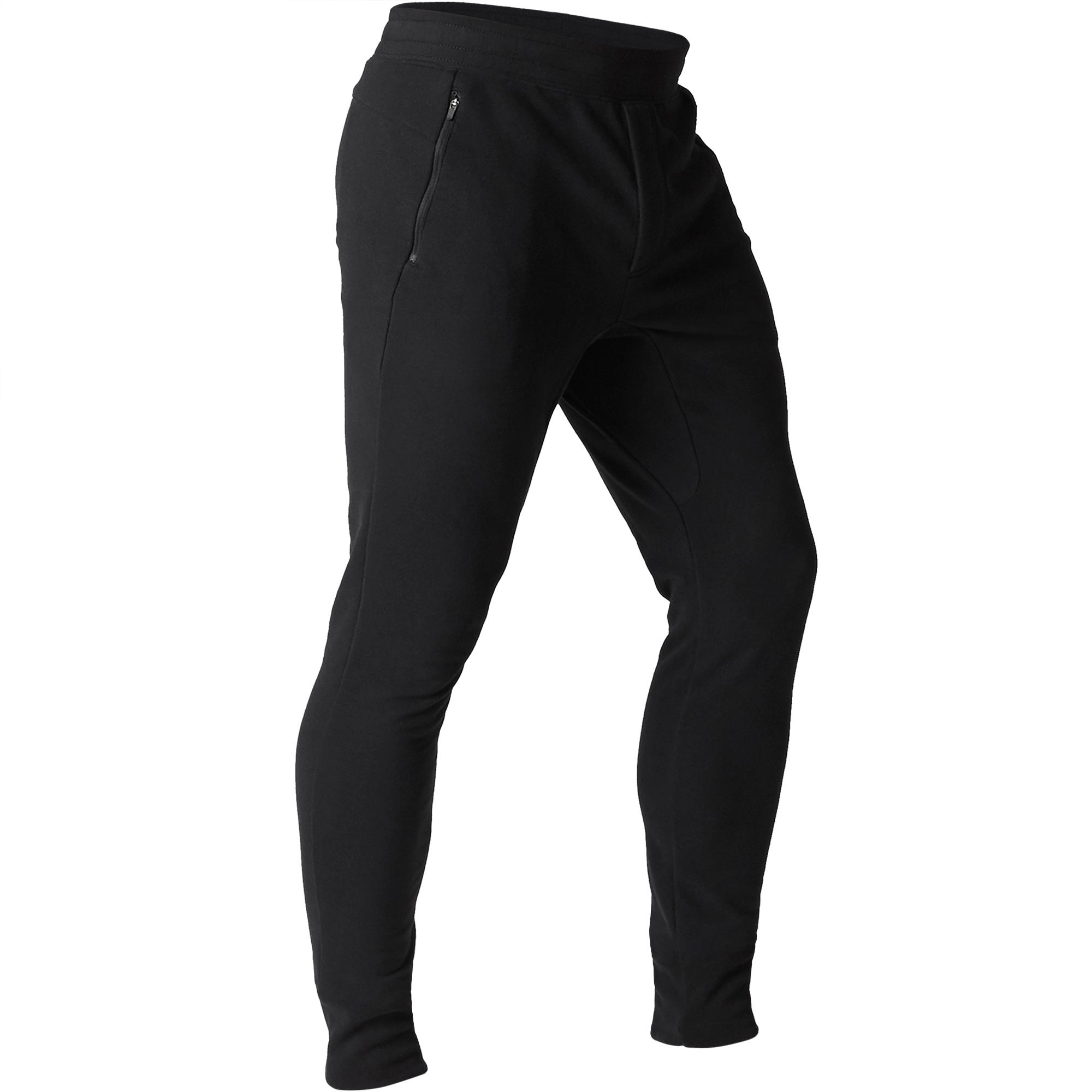 Pantalon 500 skinny zip gymnastique d'étirement noir homme