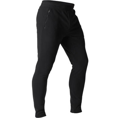Pantalon 500 skinny zip Pilates Gym douce noir homme