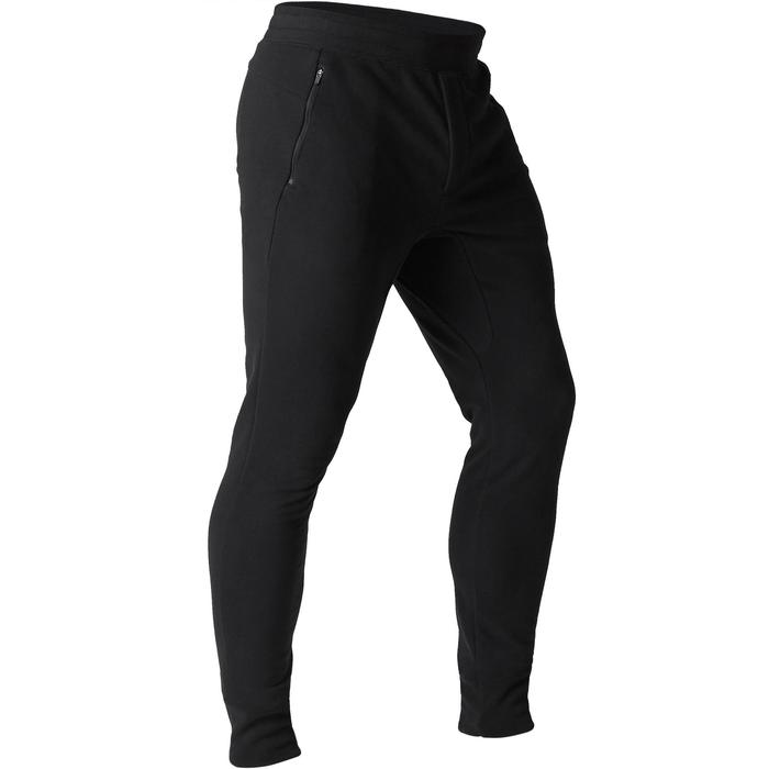 Pantalon 500 skinny zip Gym Stretching noir homme - 1505186