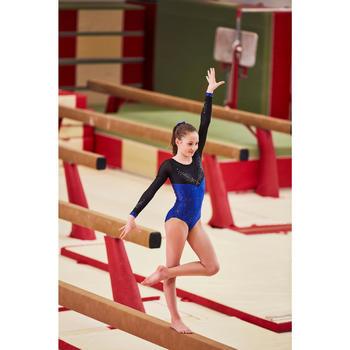Justaucorps manches longues de gymnastique artistique féminine strass noir