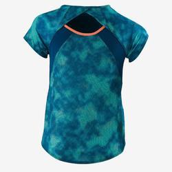 Camiseta de manga corta S900 gimnasia niña estampado azul