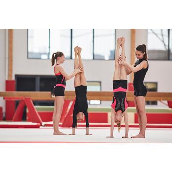 Gymnastikhose kurz Shorts Kunstturnen 500 FDM Pailletten schwarz/rosa