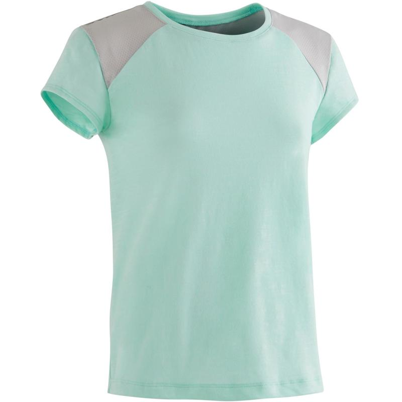 c702d76ed5a Camiseta de manga corta 500 gimnasia niña azul claro | Domyos by Decathlon