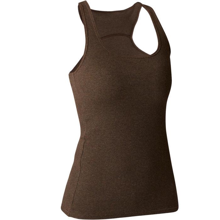 Camiseta sin mangas 500 gimnasia Stretching mujer caqui