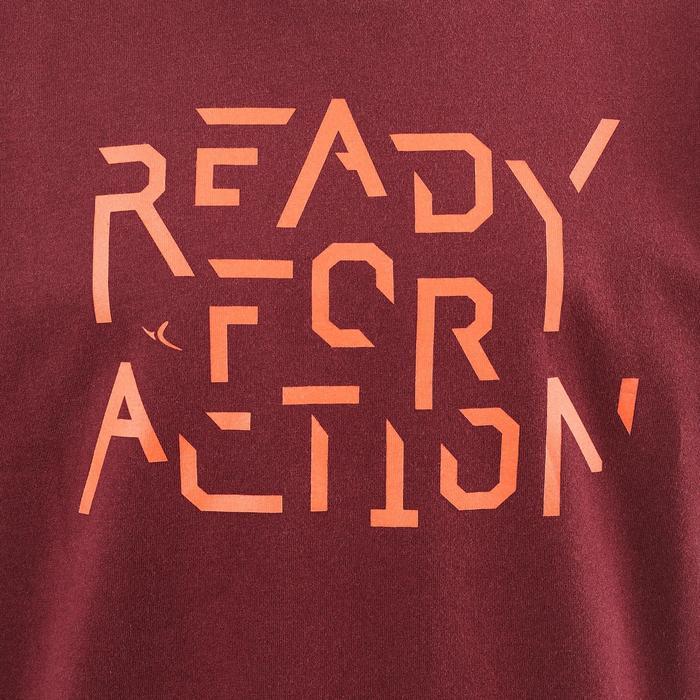 Camiseta de manga corta 100 gimnasia niño burdeos estampado