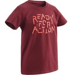 Gym T-shirt met korte mouwen 100 voor jongens bordeaux print
