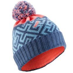 兒童滑雪帽GRAND NORD藍色/珊瑚紅
