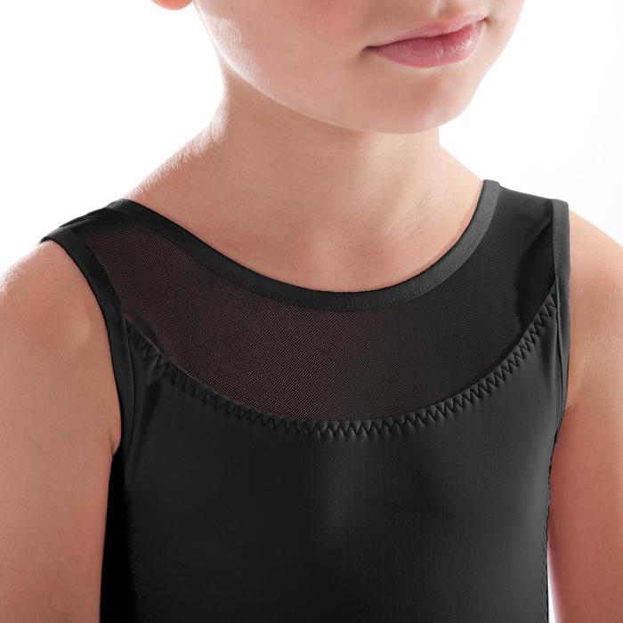 Maillot de danza clásica en dos tejidos niña negro
