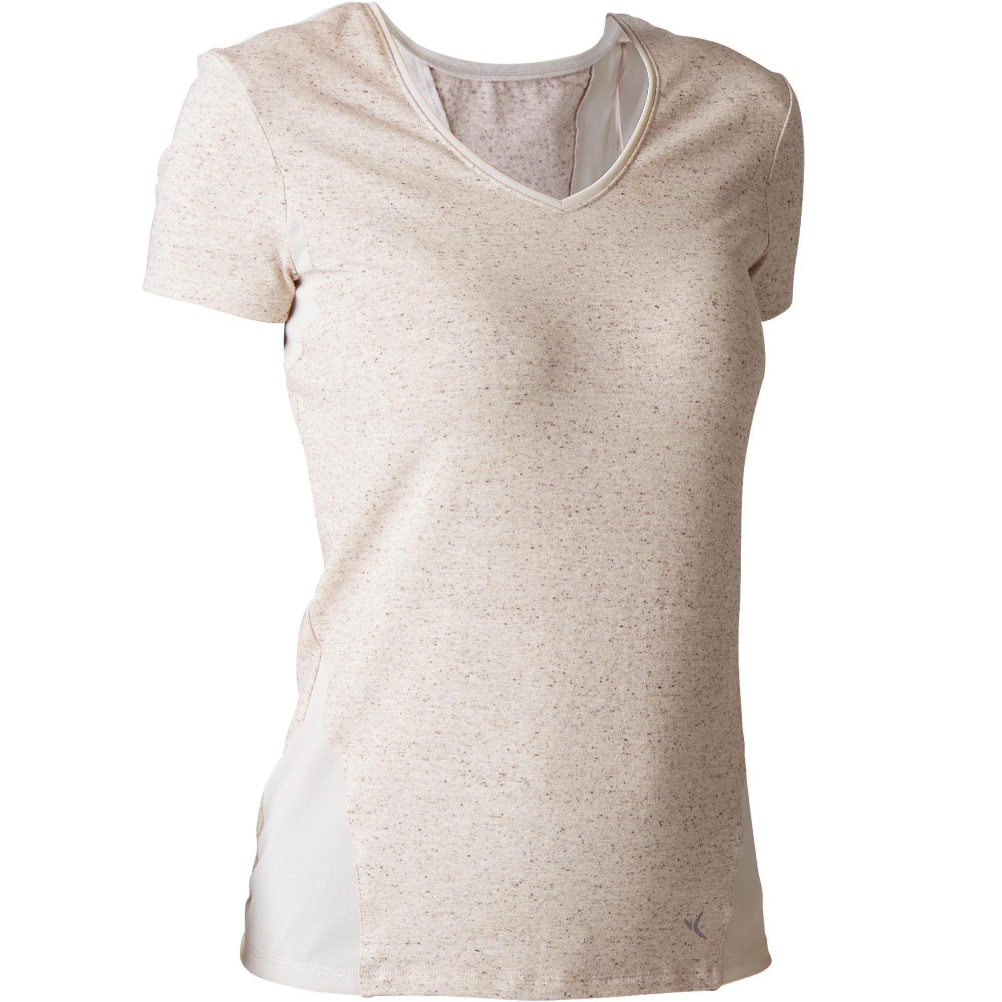T-shirt 520 gymnastique d'étirement femme beige chiné