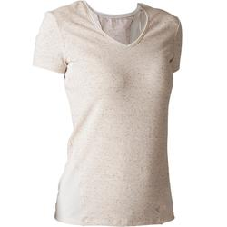 Dames T-shirt 520 voor gym en stretching gemêleerd beige