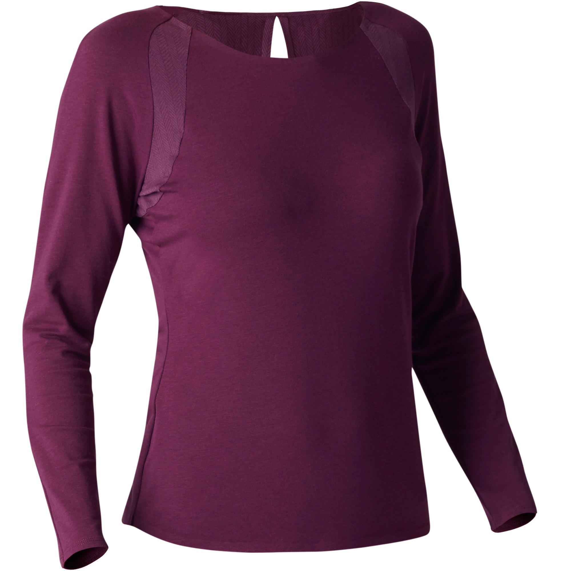 Domyos Dames T-shirt 900 met lange mouwen voor gym, stretching en pilates paars