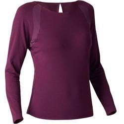 Dames T-shirt 900 met lange mouwen voor gym, stretching en pilates paars