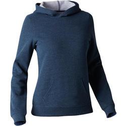 Kapuzenpullover 520 Gym Stretching Damen dunkelblau meliert