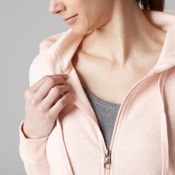 Dameshoodie met rits 520 voor gym en stretching gemêleerd roze