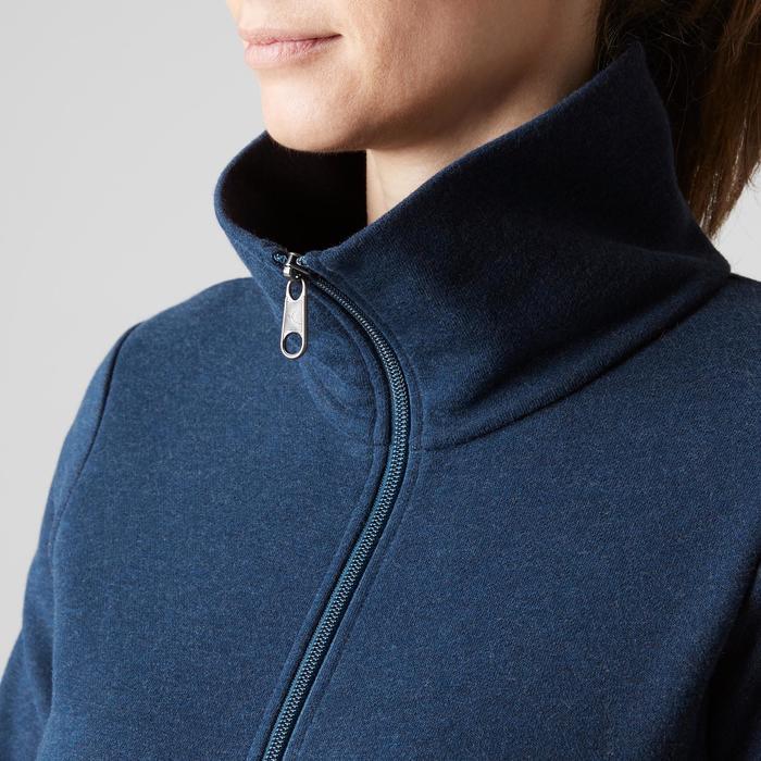 Sudadera Con Cremallera Gym Pilates Domyos 500 Cuello Alto Mujer Azul Jaspeado