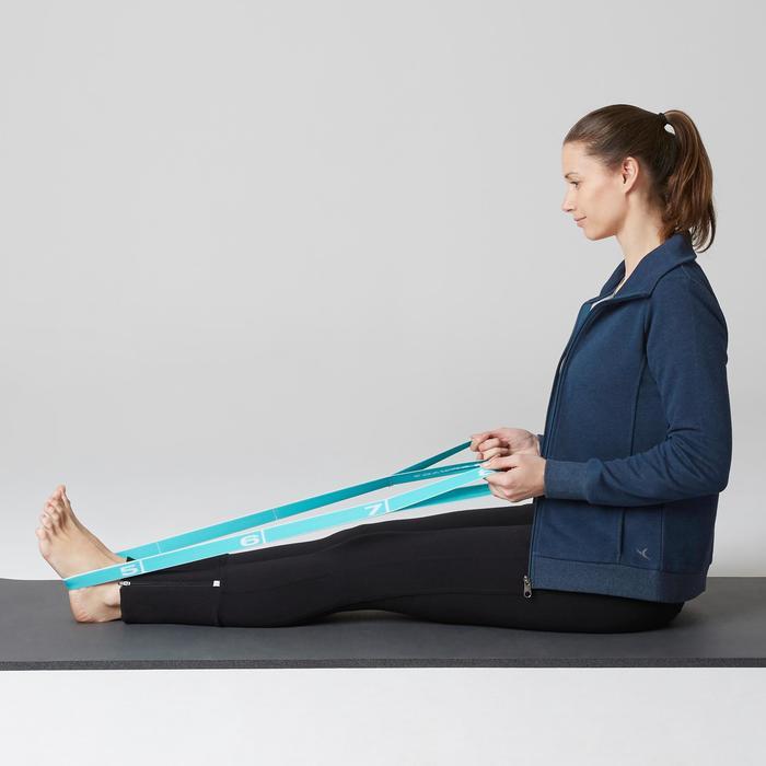 Veste 500 col montant Gym Stretching femme bleu chiné