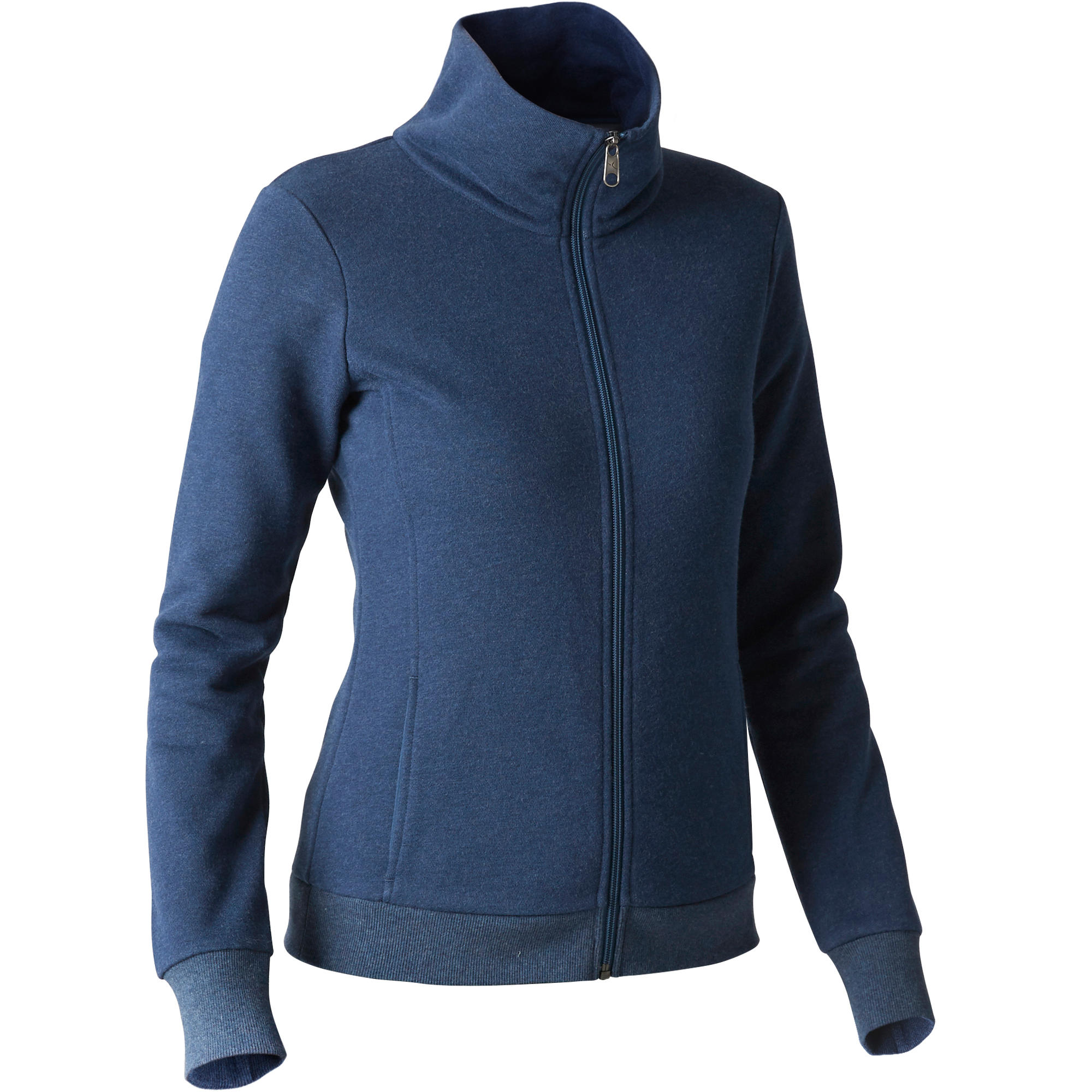 500 Women's High-Neck Gym Stretching Jacket - Mottled Blue
