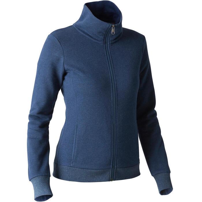 Trainingsjacke 500 Gym Stretching Stehkragen Damen blau meliert