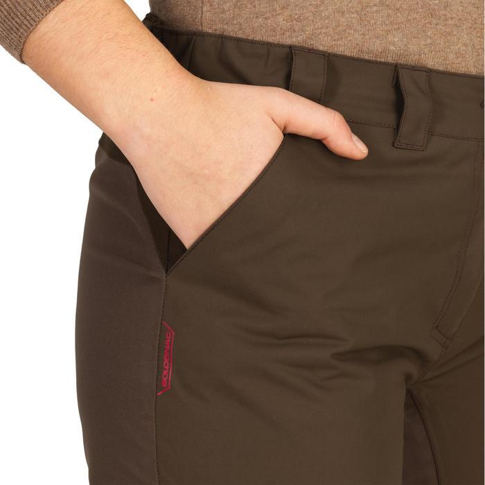500 Women S Waterproof Hunting Trousers Brown Solognac Decathlon