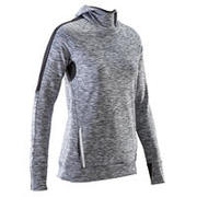 MAILLOT DE MANGA LARGA RUNNING MUJER RUN WARM HOOD GRIS CHINÉ